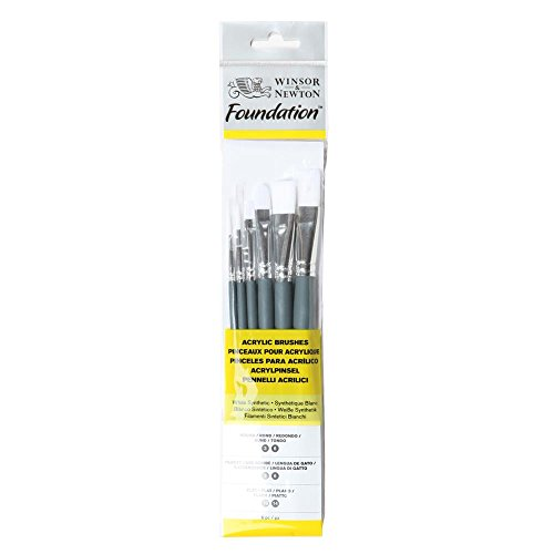 Winsor&Newton - Foundation 6 Pennelli Acrilico - Round 3,6 - Filbert 3,6 - Flat 10,14