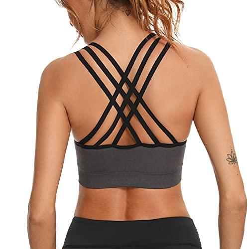 Aibrou Sujetadore Deportivo Mujer con Relleno Extraíble Sin Costuras de Alto Impacto, Top Deportivo Mujer Fitness de para Yoga Gimnasio