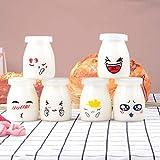 Langlee Set de 6 Vasos para Yogurtera, Vasos de Repuesto Tarros Cristal con Divertidas Emoticonos y Tapas, Tarro de Crema Postre Pudding Glass Jar (Capacidad: 150 ml)