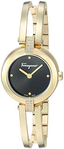 Salvatore Ferragamo Women's Ferragamo Miniature Stainless Steel Swiss-Quartz Watch with Yellow-Gold Strap, 9.8 (Model: FAT080017)