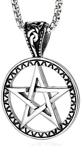 NC110 Collar de Estrella de Cinco Puntas de Acero Inoxidable Vintage Colgante Europeo y Estrella de David Amuleto Colgante de Acero de Titanio Joyas para Hombres y Mujeres YUAHJIGE