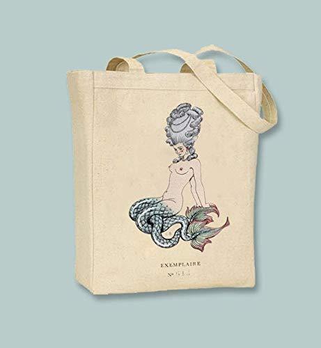 Sirena, ilustración Barbier, libro, Les Liaisons dangereuses bolsa de lona natural o negra