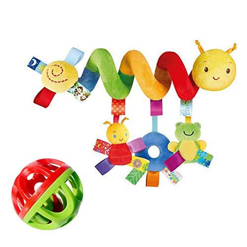 AODOOR Cochecito de bebé, juguete de actividad en espiral, cadena de juguetes para colgar en la cama, juguetes de peluche para bebés, que se pueden colgar en un asiento infantil o una cuna.