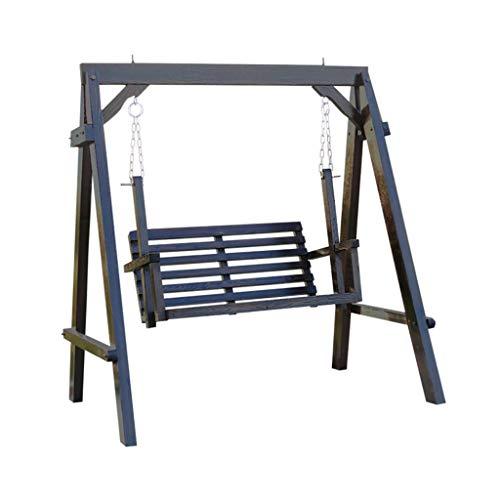 Balançoire Chaise balançoire Chaise de Jardin balançoire Double Bois Massif balançoire balançoire Cour Chaise à Bascule extérieur (Color : Brown, Size : 140 * 120 * 152cm)