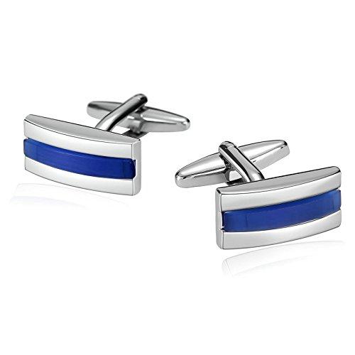Beglie Herren Manschettenknöpfe Edelstahl Bicolor Streifen Rechteck Blau 0.9×2 cm Elegante Cufflinks Herren Schmuck