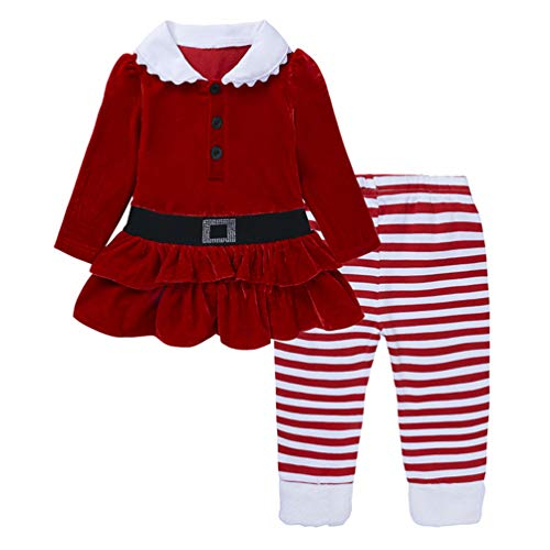 Vestido infantil de algodão Fashspo com mangas compridas e listras (2-6T), Style-23, 2T