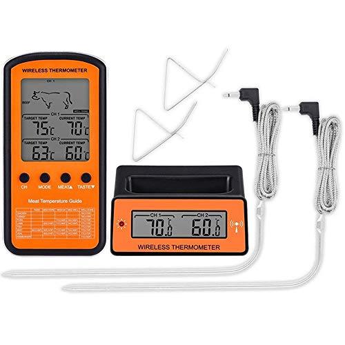 NBSXR Draadloze Afstandsbediening Digitale Koken Vlees Thermometer met Dual Probe, met Timer en Voorgeprogrammeerde Temps, voor Grillen, Koken etc