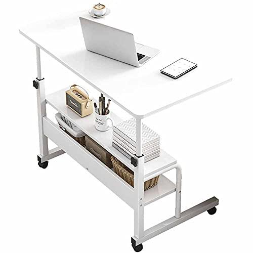 LJFYXZ Mesa de Ordenador Altura Ajustable 65-81 cm, Mesa para Ordenador Portátil 4 Ruedas (con Dispositivo de Bloqueo) Blanco(Size:60x40cm)