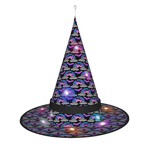 Novedad Halloween sombrero de bruja, nubes de lluvia arco iris y murcilagos Halloween disfraz accesorios de cosplay con luces para interior al aire libre, jardn, decoracin de fiestas