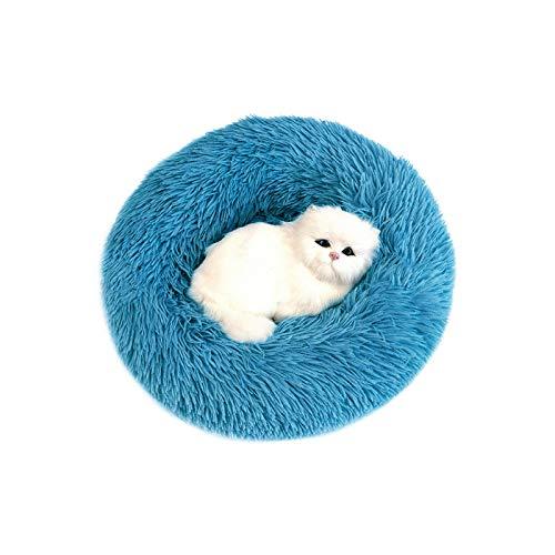 Cama de perro mullida suave de felpa donut Cuddler perrera redonda ultra suave lavable perro gato cojín cama invierno caliente sofá venta caliente-azul-70 cm 15 kg sueño