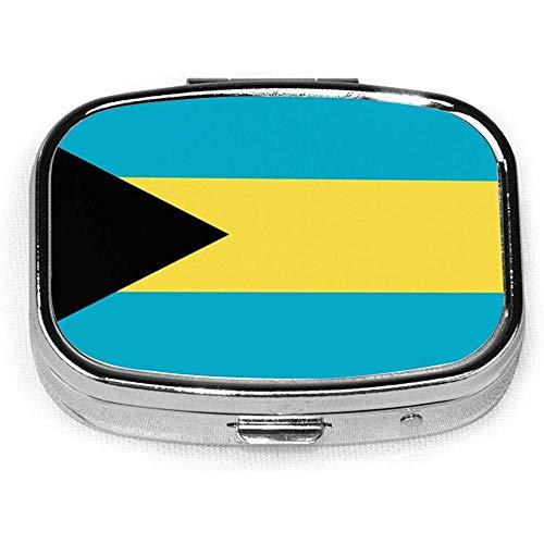 Bahamas Vlag Aangepaste Mode Zilver Vierkante Pill Box Medicine Tablet Houder Portemonnee Organizer Case voor Pocket of portemonnee