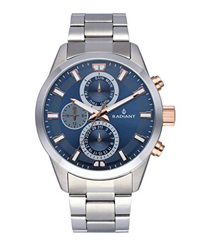Reloj analógico para Hombre de Radiant. Colección Guardian. Reloj Plateado con Brazalete y Esfera en Azul y Dorado. 10ATM. 44mm. Referencia RA479706.
