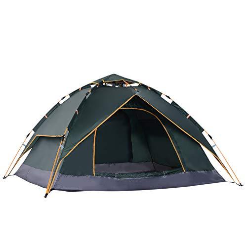 Outsunny Doppelzelt Campingzelt Outdoorzelt Familienzelt Quick-Up-Zelt 2 Erwachsene + 1 Kind 4 Jahreszeiten wasserdicht Tragetasche 2 Türen Polyester + Glasfaser Dunkelgrün 210 x 210 x 140 cm