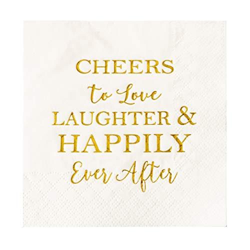 Crisky 50 Count Bridal Shower Napkins Disposable Cocktail Napkins 3-Ply Gold Foil Text Beverage Napkins for Engagement Party Decorations & Wedding Shower