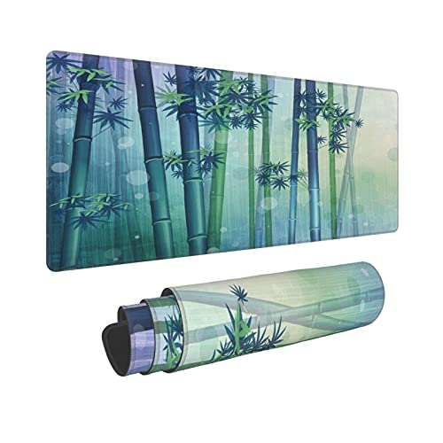 Gaming Mouse Pad Chinese Style Watercolor Painting Green Bamboo Forest Full of Vitality Large Mouse Pads with Non-Slip Base and Stitched Edge Waterproof Desktop Mat for Home Office