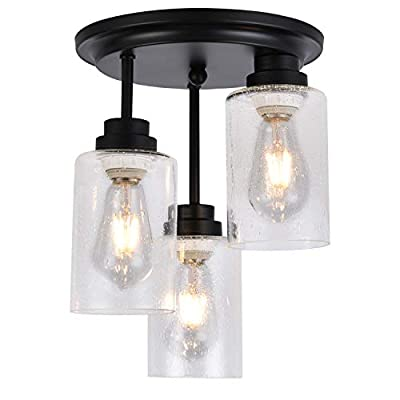 KRASTY Small Ceiling Light,Electric Industrial 3-Light Back Paint Semi-Flush Mount Ceiling Light with Seeded Glass Shade for Hallway Kitchen Bedrooom