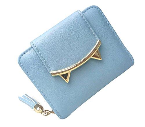 Monederos para Mujer, Kfnire Adorable Corto Billete Gato Orejas Moneda Monedero Dinero Clip (Azul)