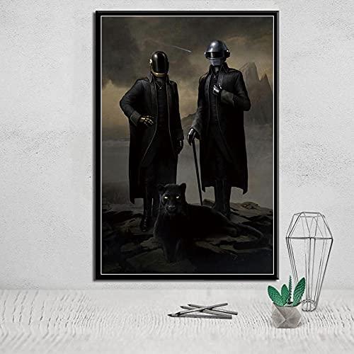 lubenwei Pintura de Lienzo Daft Punk The Weeknd Starboy metálico DJ Hip Hop Pintura artística Lienzo póster Pared decoración del hogar (AP-361) 50x70cm Sin Marco