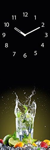 Wanduhr aus Glas für die Küche, Ice Mojito, Cocktail Glas, 20x60 cm von Eurographics