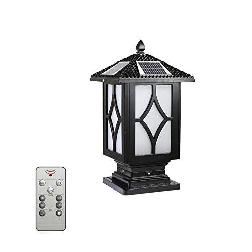 COCNI Lámpara de Columna Solar LED Negra Retro, Lámpara de Columna de Aluminio Fundido IP65 Resistente al Agua Lámpara de Poste de Calle Paisaje Lámpara de Columna Decorativa
