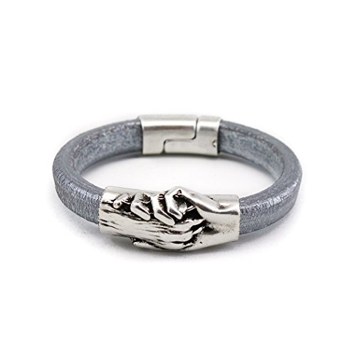 Silver Plated Hand and Dog Paw Symbol Bracelet, Genuine Leather Bracelet for Women and Men, Magnetic Clasp, Ideal for Pet Lovers and Pet Memorial, Thick Dyed Leather, Silver/Grey Color, Extra Large