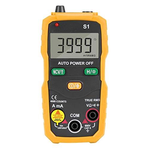 Emoshayoga Multímetro Digital Inteligente RMS NCV de Alta precisión para electricistas para Oficina para el hogar(Yellow)