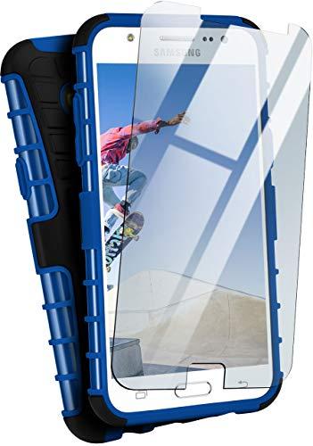moex Panzerhülle kompatibel mit Samsung Galaxy J5 (2015) - Handyhülle mit Panzerglas, extrem stoßfest, Panzer Outdoor Hülle 360 Grad, Blau Schwarz
