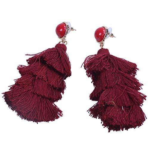 Fransande Pendientes colgantes de borla de capa para mujer, regalo de boda, color rojo vino
