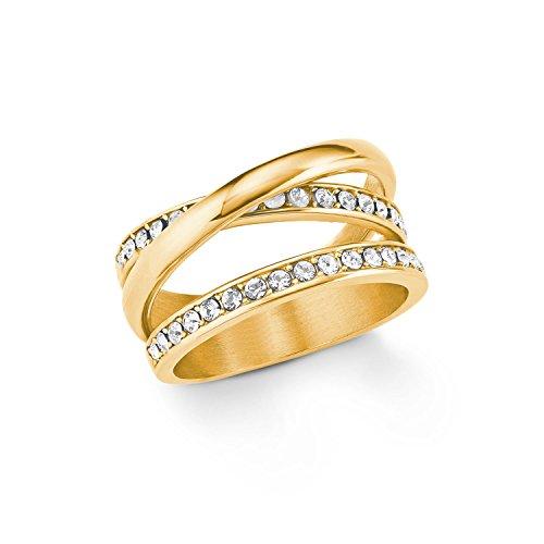 s.Oliver Damen Ring Edelstahl IP Gold veredelt mit Swarovski Kristallen