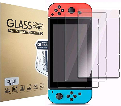 Aishtec[3 Unidades] Protector de Pantalla para Nintendo Switch, Cristal Vidrio Templado Premium, [Dureza 9H] Transparente HD Anti-Arañazos - 3 Unidades