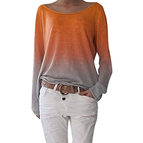 Wintialy Autumn Women Ladies Long Sleeve Women's Ladies Gradient Round Neck Shirt Blouse Orange