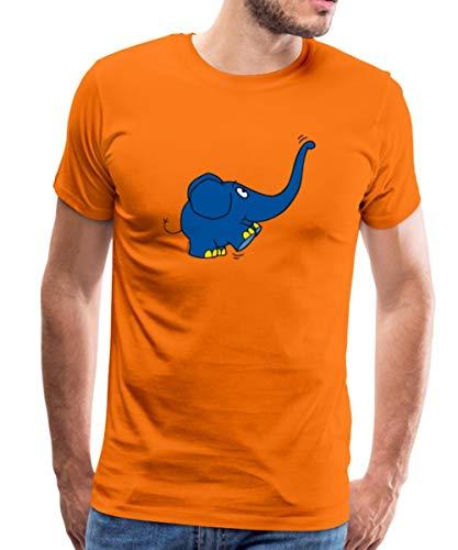 Spreadshirt Die Sendung Mit Der Maus Kleiner Elefant Spielt Männer Premium T-Shirt, M, Orange