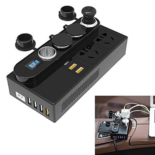BEIJING  CARACCESSORIES ++ 200W DC 12V / 24V a 220V AC Coche Multifuncional 7288 Corrección de energía de Onda de 6 Puertos USB Adaptador de Cargador rápido QC3.0 De Mejora tu Coche
