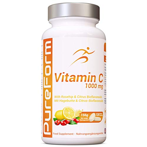PureForm - Vitamin C 1000mg with Rosehip and Citrus Bioflavonoide - 120 Vegan Tablets | Made in UK