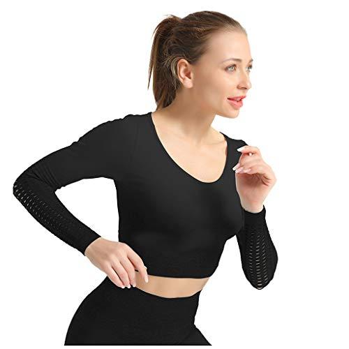 Yoga-Kleidungs Set für Damen | Damen Nahtlos Longsleeve Laufshirt Sport Langarm Oberteil | Hohe Taille Yoga Hosen Leggings Tights Shape Stretch Sporthose für Workout Gym Joggen Hose