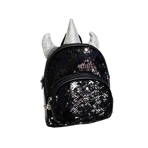 Tendycoco Eenhoorn rugzak, pailletten, leer, schoudertas, reistas, roze en zilver Taille 1 Zwart + Zilver