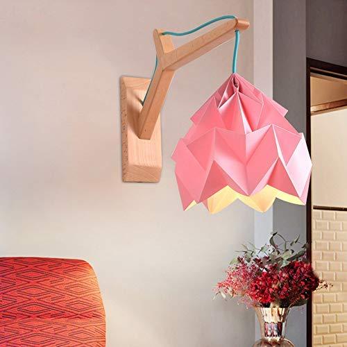 YUNZHI Beleuchtung Wood Art Sconce Wandleuchten gewölbtes Shade Papier der Wand befestigte Lampe Macaron 1 Kopf Gelb-Leuchter-Licht-Befestigung mit Holzplatte (grün), Farbe: Weiß (Color : Pink)