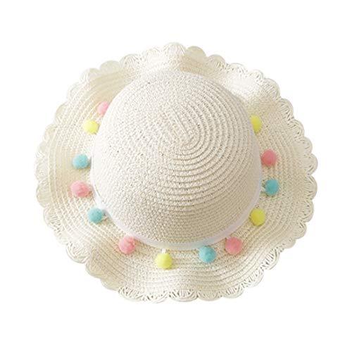 Children Kid Baby Girl Breathable Sun Tassel Balls Straw Hat Beach Cap Fisherman's Hat Sun Hat Visor Cap(2-10 Years) (White, Hat Circumference: 48-52cm)
