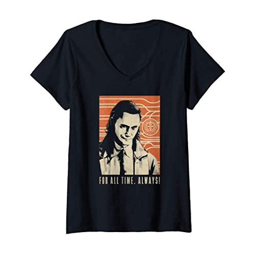 Donna Marvel Loki For All Time Always! Maglietta con Collo a V