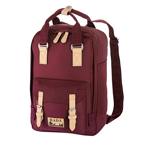 Rada RS/52 Rucksack mit Laptopfach 13 Zoll Notebook für Damen & Herren, moderner Schulrucksack, Daypack für Mädchen und Jungen Outdoor Sport (Wine red)