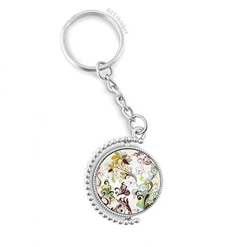 DIYthinker Blumen-Pflanzen Bunte Kunst Korn Drehbare Schlüsselanhänger Ringe 1.2 Zoll x 3.5 Zoll Mehrfarbig
