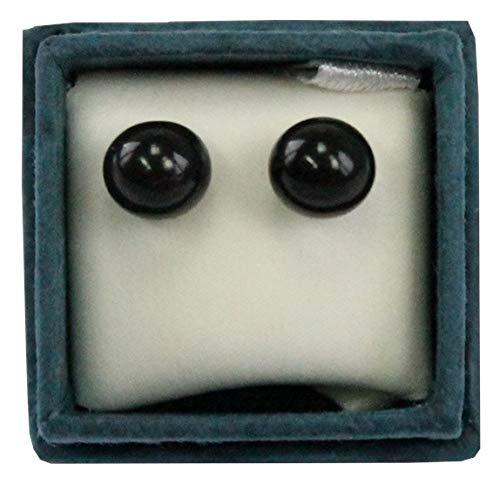Oorbellen parels onyx 6 mm