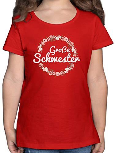 Geschwisterliebe Kind - Große Schwester Blumenkranz - 128 (7/8 Jahre) - Rot - t-Shirt mädchen ich werde eine große Schwester - F131K - Mädchen Kinder T-Shirt