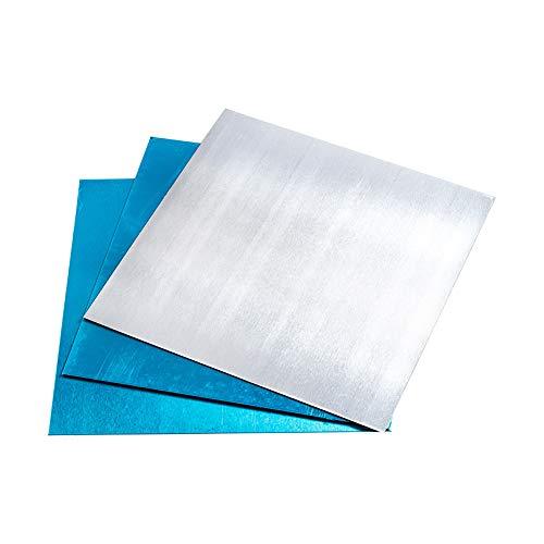 PandaHall Elite 20 Hojas de práctica de Aluminio Fino de 10 x 10 cm, sin chapar, Placa de Aluminio, Material de Metal, para Hacer Joyas, Estampado, Grabado en Relieve