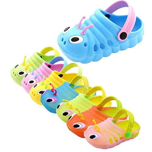 Dorical Süß Karikatur Caterpillar Hausschuhe Sommer Unisex Kleinkind Baby Jungs Mädchen Mädchen Indoor-Schuhe Sandalen Strand Sandalen Flip Schuhe Strandschuhe Badezimmer Schuhe(Blau,24 EU)