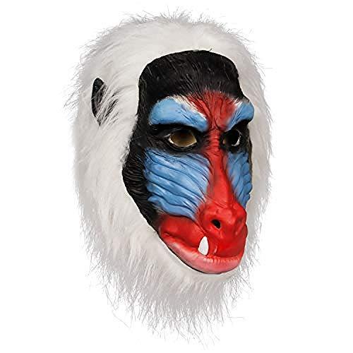 Madagascar Babbuino Maschera Re Leone Abbigliamento lafite Maschera in Lattice Giungla Animale Scimpanzé Testa di Scimmia Maschera di Gomma Primate Scimmia Bianco,Maschera di Halloween