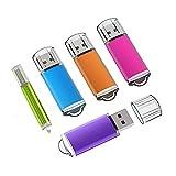 KEXIN 4GB Memoria USB 2.0, 5 Piezas Pendrive 4GB Flash USB 2.0 para Computadoras, Tabletas y Otros Dispositivos [5 Unidades, Color de Naranja, Rojo, Verde, Azul, Púrpura]
