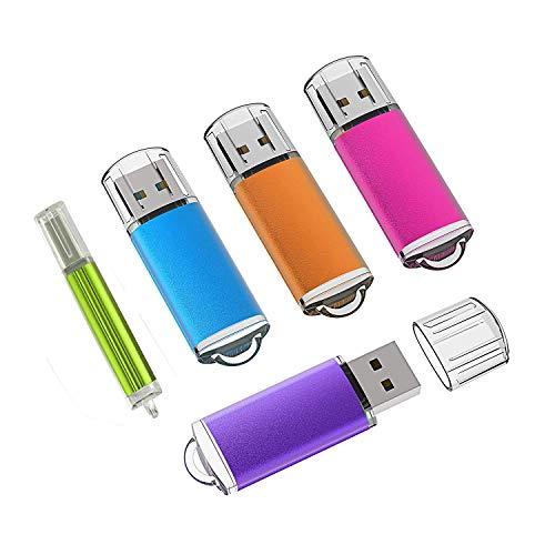 KEXIN Pendrive 2GB Chiavetta USB 2.0 [5 Pezzi] USB Flash Drive 2 GB Memoria Stick Pennetta USB Portatile 2 Giga Compatibile per PC, Notebook, Laptop (Colori Misti: Rosso Blu Verde Viola Arancio)