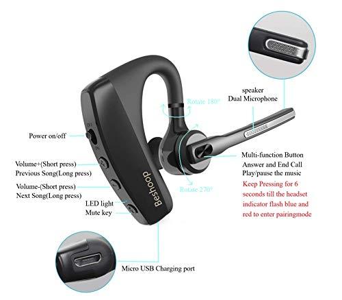 Manos Libres Auricular Bluetooth, 16H Auricular Inalámbrico Negocio CVC 8.0 con Doble Micrófono, EDR con Cancelación de Ruido en Coche para iPhone Samsung Huawei HTC XIAOMI iPad Laptop miniatura