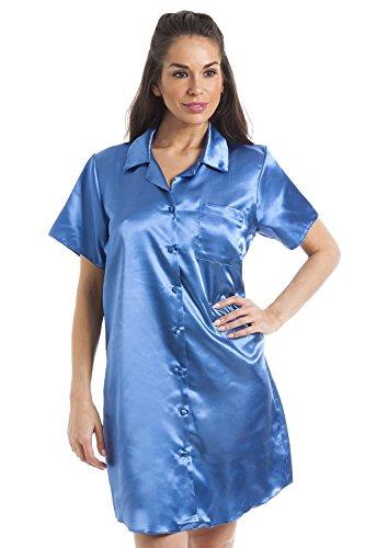 Camille Luxuriöses, knielanges Damen-Nachthemd aus Satin Gr. 40, blau